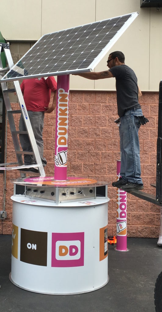goCharge Solar Charging Station Branded by Dunkin Donuts